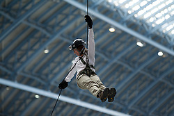 © Licensed to London News Pictures. 14/09/2012. LONDON, UK. A volunteer abseils from the roof of St Pancras International in London today (14/09/12). The abseil saw 15 abseilers descend from the roof of the station in an attempt to raise more than £150,000 for the Commando Spirit Appeal on behalf of the Royal Marines Charitable Trust. Photo credit: Matt Cetti-Roberts/LNP