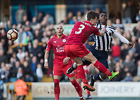 Football - 2016 / 2017 FA Cup - Fifth Round: Millwall vs. Leicester City <br /> <br /> Ben Chilwell of Leicester City has a hold of Fred Onyedinma of Millwall at The Den<br /> <br /> COLORSPORT/DANIEL BEARHAM