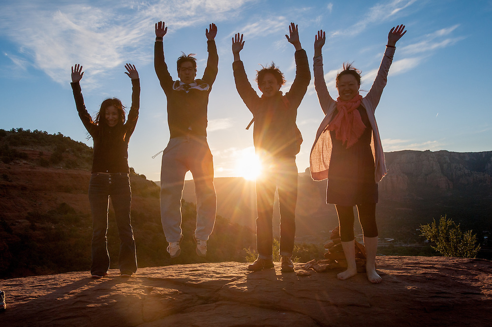 New age tourists greet sunrise in Sedona AZ