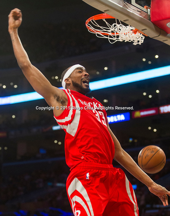 Houston Rockets  guard Corey Brewer (33) against Los Angeles Lakers during their NBA game at Staples Center in Los Angeles, California on January 25, 2015 . Rockets defeated Lakers 99-87. (Photo by Ringo Chiu/PHOTOFORMULA.com)