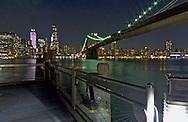 Brooklyn Bridge from Brooklyn Bridge Park at night.