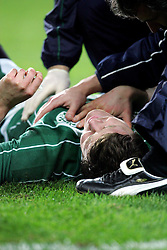 Brian O'Driscoll lies injured after a strong tackle from Delon Armitage during the RBS Six Nations match between Ireland v England, Croke Park, Dublin, Saturday 28th February 2009.