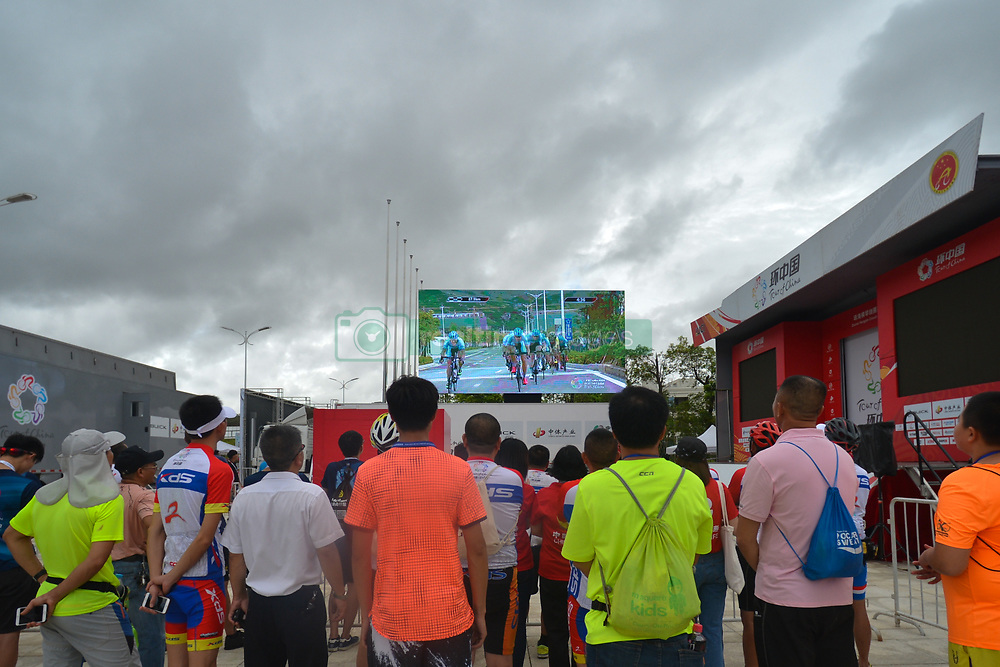 September 24, 2017 - Zhuhai, Guangdong, China - Members of the public watch on the big screen the fifth and final stage of the 2017 Tour of China 2, the 91.2km Zhuhai Hengqin Circuit Race. .On Sunday, 24 September 2017, in Hengqin district, Zhuhai City, Guangdong Province, China. (Credit Image: © Artur Widak/NurPhoto via ZUMA Press)