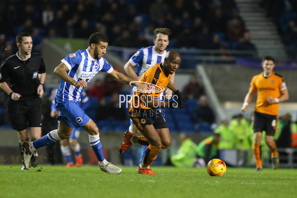 Wolverhampton Wanderers striker Benik Afobe (10) on the ball during the Sky Bet Championship match between Brighton and Hove Albion and Wolverhampton Wanderers at the American Express Community Stadium, Brighton and Hove, England on 1 January 2016. Photo by Phil Duncan.