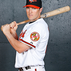February 26, 2011; Sarasota, FL, USA; Baltimore Orioles infielder Brendan Harris (28) poses during photo day at Ed Smith Stadium.  Mandatory Credit: Derick E. Hingle