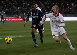 Bari (BA), 03-02-2011 ITALY - Italian Soccer Championship Day 23 - Bari VS Inter..Pictured: Masiello (B) Eto'o (I)..Photo by Giovanni Marino/OTNPhotos . Obligatory Credit