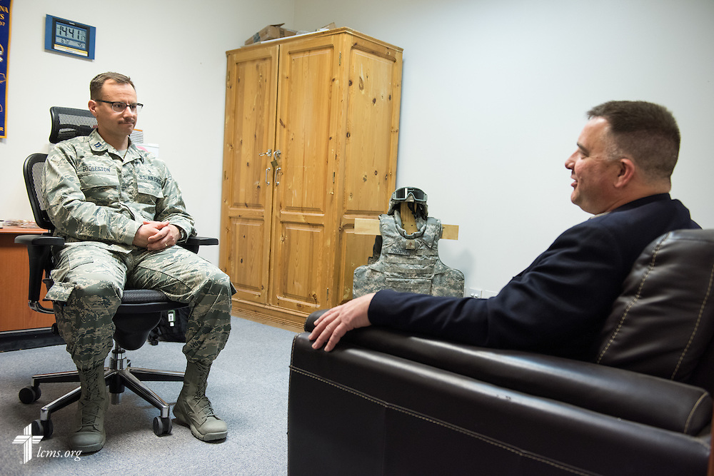Air Force Capt. Joseph Eggleston (left), chaplain, 386th Air Expeditionary Wing, meets with the Rev. Craig G. Muehler, director of the LCMS Ministry to the Armed Forces on Monday, March 23, 2015. LCMS Communications/Erik M. Lunsford