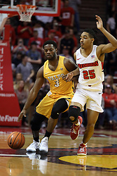 27 January 2018:  Max Joseph defended by Madison Williams during a College mens basketball game between the Valparaiso Crusaders and Illinois State Redbirds in Redbird Arena, Normal IL