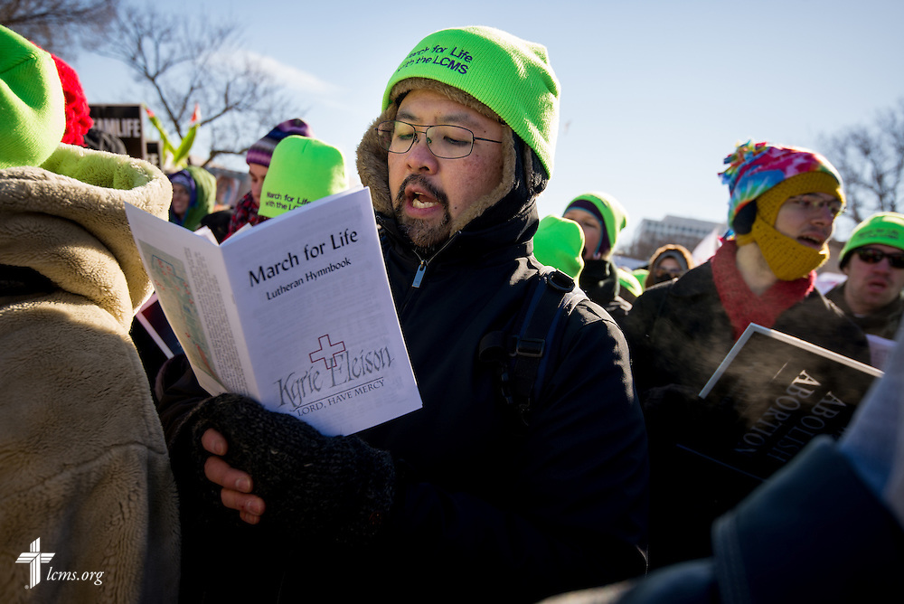 Ed Szeto, coordinator for LCMS Life Ministries, sings hymns Wednesday, Jan. 22, 2014, at the 41st March for Life in Washington, D.C. LCMS Communications/Erik M. Lunsford