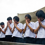 NAGASAKI, JAPAN - AUGUST 9 : Students pray for the atomic bomb victims in front of the Nagasaki Peace Park in Nagasaki, southern Japan on Wednesday, August 9, 2017. Japan marked the 72nd anniversary of the atomic bombing on Nagasaki. (Photo: Richard Atrero de Guzman/AFLO)