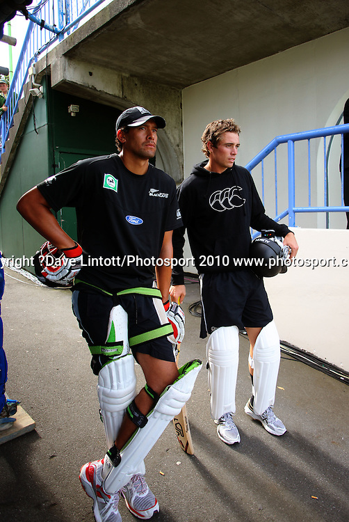 NZ's Daryl Tuffey and Tim Southee pad up for the second time on day three.<br /> 1st cricket test match - New Zealand Black Caps v Australia, day three at the Basin Reserve, Wellington.Sunday, 21 March 2010. Photo: Dave Lintott/PHOTOSPORT