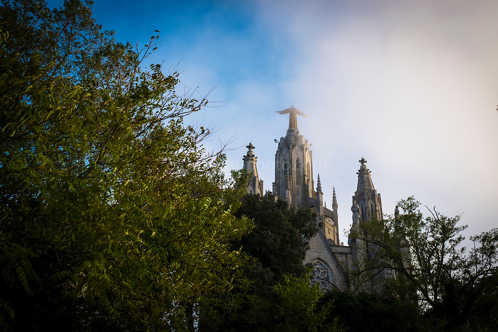 Temple Expiatori del Sagrat Cor -  Expiatory Church of the Sacred Heart of Jesus, Tibidabo, Barcelona. Designed by architect Enric Sagnier.