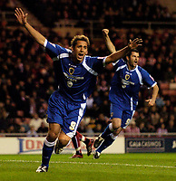 Photo: Jed Wee.<br /> Sunderland v Cardiff City. Coca Cola Championship. 31/10/2006.<br /> <br /> Cardiff's former Newcastle player Michael Chopra celebrates after opening the scoring.