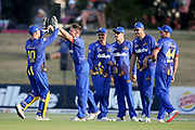 The Volts celebrate the wicket of Knights Nick Kelly during the T20 Super Smash cricket game, Knights v Volts played at Bay Oval, Mount Maunganui, New Zealand on Saturday 9 February 2019.<br /> <br /> Copyright photo: © Bruce Lim / www.photosport.nz