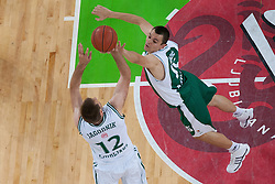 Goran Jagodnik of Union Olimpija & Jure Bzlazic during basketball match between KK Union Olimpija and KK Krka in 4nd Final match of Telemach Slovenian Champion League 2011/12, on May 24, 2012 in Arena Stozice, Ljubljana, Slovenia. Krka defeated Union Olimpija 65-55. (Photo by Grega Valancic / Sportida.com)