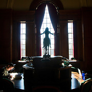 Dartmouth College sophomore Danny Crytser, left, and freshmen Trisha Murphy, right, study in the tower room at The Baker Library in hanover on February 6, 2012.<br /> <br /> Valley News - Theophil Syslo