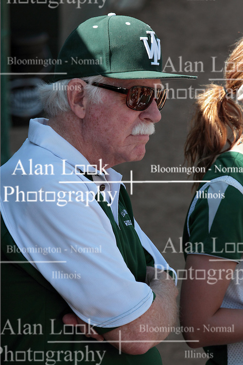 09 May 2014:  Coach Lyle Day during an NCAA Division III women's softball game between the DePauw Tigers and the Illinois Wesleyan Titans in Bloomington IL
