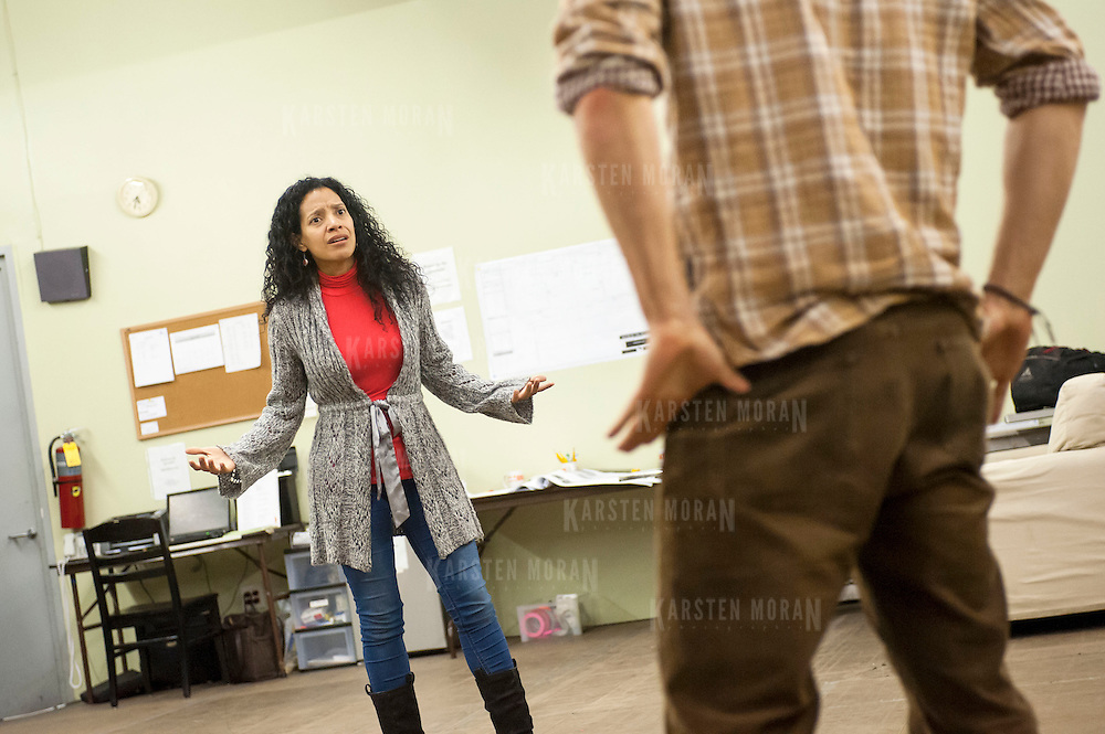 "November 20, 2012 - New York, NY : Actors Zabryna Guevara, left, and Armando Riesco perform a scene during an early rehearsal for ""Water by the Spoonful"" at Second Stage Theatre on West 43rd Street in Manhattan on Tuesday night. The play, by Quiara Alegria Hudes, won the 2012 Pulitzer Prize for drama. CREDIT: Karsten Moran for The New York Times"