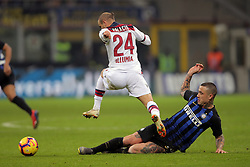 February 3, 2019 - Milan, Milan, Italy - Rodrigo Palacio #24 of Bologna FC competes for the ball with Radja Nainggolan #14 of FC Internazionale Milano during the serie A match between FC Internazionale and Bologna FC at Stadio Giuseppe Meazza on February 3, 2019 in Milan, Italy. (Credit Image: © Giuseppe Cottini/NurPhoto via ZUMA Press)