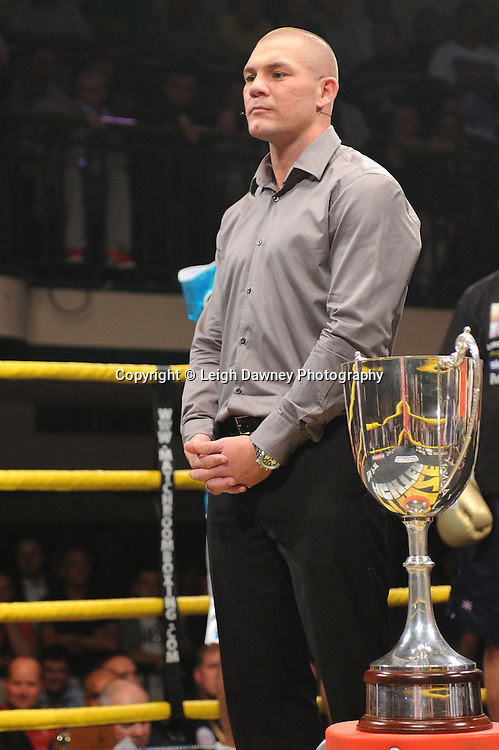 Jamie Moore (former boxer) about to do the draw at Prizefighter - The Light Middleweights II. York Hall, Bethnal Green, London, UK. 15th September 2011. Photo credit: © Leigh Dawney.