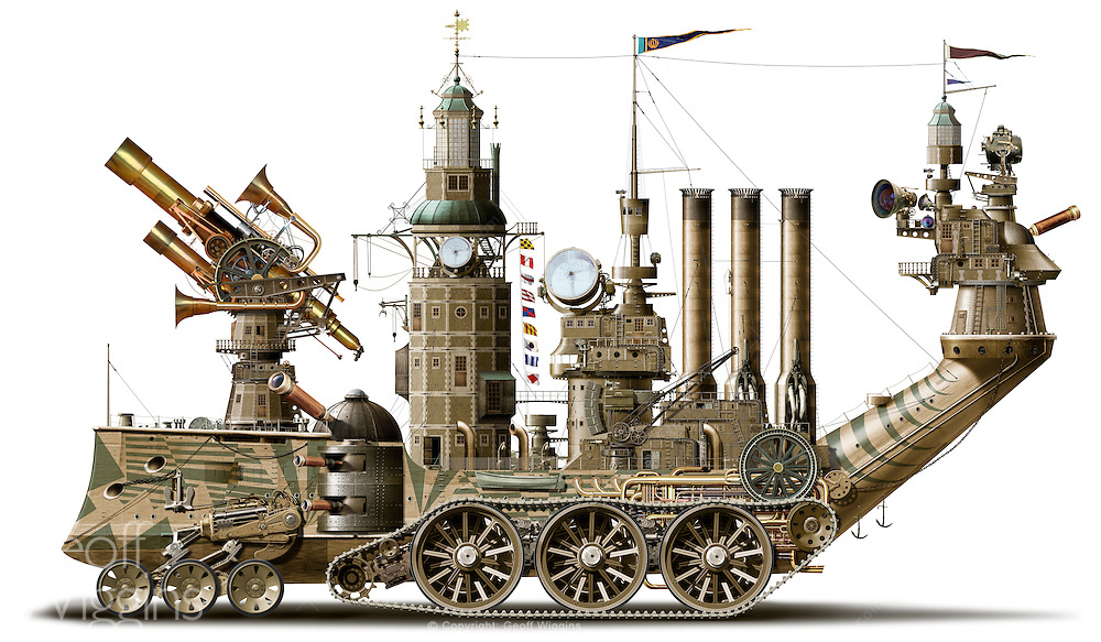 Steampunk concept illustration of a Victorianesque amphibious steam powered observatory