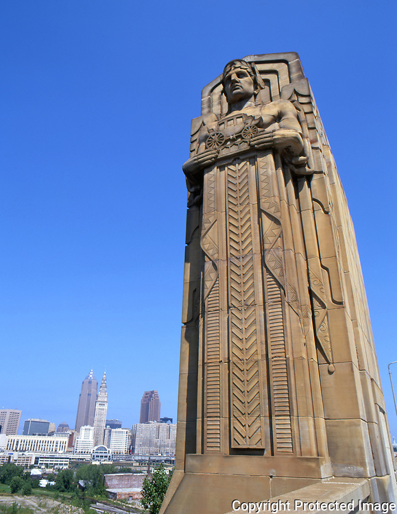 Guardians of transportation on the Lorain Carnegie Bridge in Cleveland