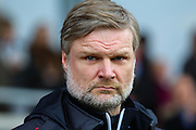 Fleetwood Town manager Steven Pressley during the Sky Bet League 1 match between Burton Albion and Fleetwood Town at the Pirelli Stadium, Burton upon Trent, England on 12 March 2016. Photo by Aaron  Lupton.