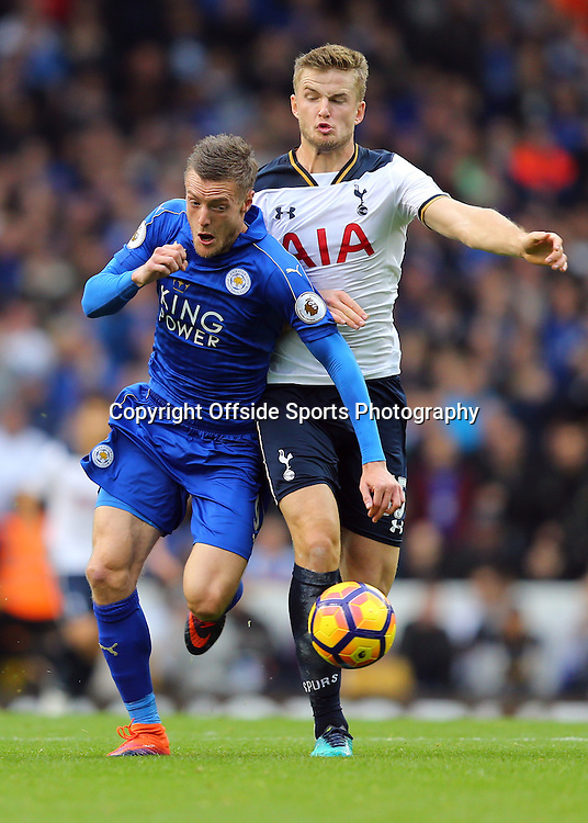 29 October 2016 - Premier League - Tottenham Hotspur v Leicester City - Jamie Vardy of Leicester City in action with Eric Dier of Tottenham Hotspur - Photo: Marc Atkins / Offside.