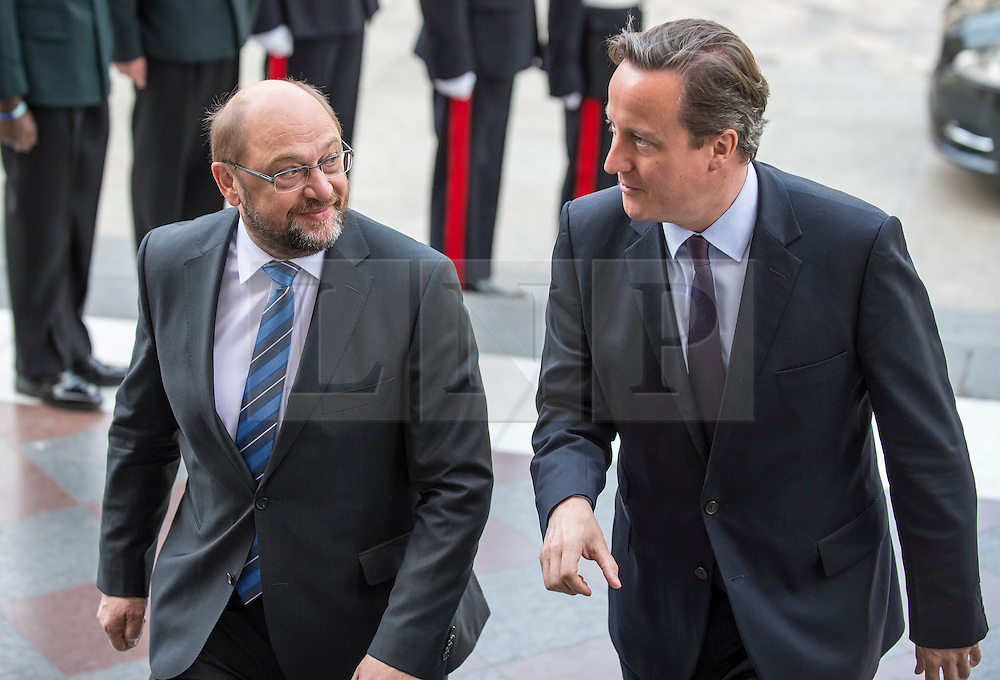 © London News Pictures. 18/06/2015. London, UK. Prime Minister David Cameron and the President of the European Parliament arrive at a service of commemoration at St Paul's Cathedral to mark the 200th Anniversary of the Battle of Waterloo. <br />   Photo credit: Sergeant Rupert Frere/LNP