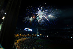 Postgame fireworks explode over Oakland-Alameda County Coliseum, following a Major League Baseball game between the Oakland Athletics and San Francisco Giants, Friday, July 20, 2018 in Oakland, Calif. (D. Ross Cameron/SF Chronicle)