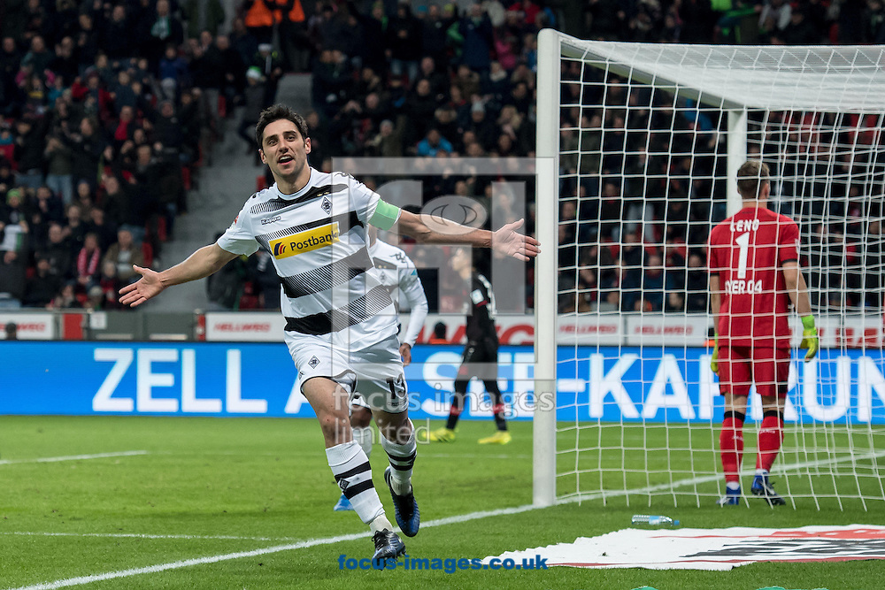 Lars Stindl (c) of Borussia Monchengladbach celebrates scoring his second goal against Bayer Leverkusen during the Bundesliga match at BayArena, Leverkusen<br /> Picture by EXPA Pictures/Focus Images Ltd 07814482222<br /> 28/01/2017<br /> *** UK &amp; IRELAND ONLY ***<br /> <br /> EXPA-EIB-170128-1317.jpg