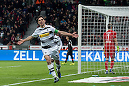 Lars Stindl (c) of Borussia Monchengladbach celebrates scoring his second goal against Bayer Leverkusen during the Bundesliga match at BayArena, Leverkusen<br /> Picture by EXPA Pictures/Focus Images Ltd 07814482222<br /> 28/01/2017<br /> *** UK & IRELAND ONLY ***<br /> <br /> EXPA-EIB-170128-1317.jpg
