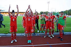 NEWPORT, WALES - Tuesday, June 12, 2018: Wales' Angharad James, Rachel Rowe and Hayley Ladd celebrate after beating Russia 3-0 during the FIFA Women's World Cup 2019 Qualifying Round Group 1 match between Wales and Russia at Newport Stadium. (Pic by David Rawcliffe/Propaganda)