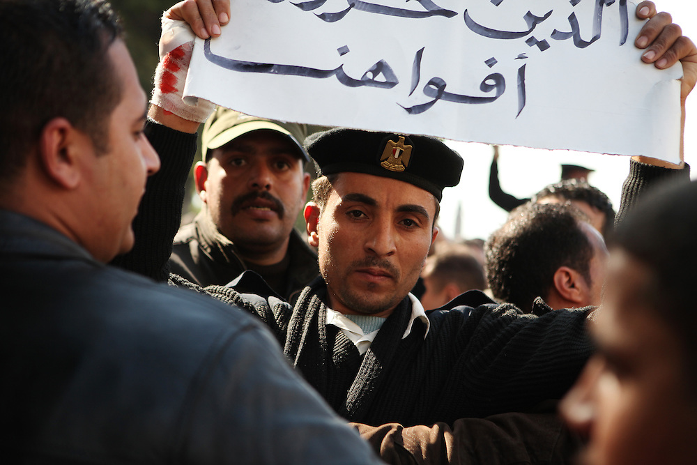 Two days after Mubarak stepped down, Egyptian police, infamous for their repression of Egyptians especially during the revolution, took to the streets to try and join pro-democracy protesters and demand more rights.