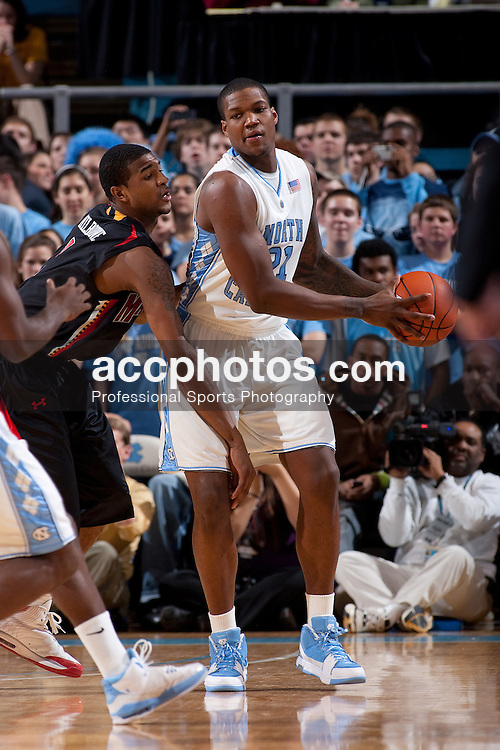 03 February 2009: North Carolina Tar Heels forward Deon Thompson (21) during a 108-91 win over the Maryland Terrapins at the Dean Smith Center in Chapel Hill, NC.