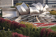 Aerial view of the from the Cliff Dwellers Club of ay Pritzker Pavilion in Millennium Park in Chicago USA