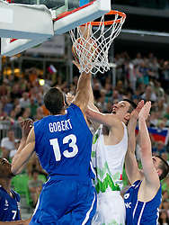 Alen Omic of Slovenia vs Rudy Gobert of France  during basketball match between National teams of Slovenia and France in Quarterfinal Match of U20 Men European Championship Slovenia 2012, on July 20, 2012 in SRC Stozice, Ljubljana, Slovenia. (Photo by Matic Klansek Velej / Sportida.com)