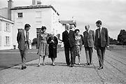 22/08/1963<br /> 08/22/1963<br /> 22 August 1963<br /> Mr Frank Aiken and family with President de Valera at Áras an Uachtaráin. Image shows:Frank Aiken Jr.; Aedamar Aiken; Sile de Valera; President Eamon de Valera; Maud Aiken; Frank Aiken and Lochlann Aiken.