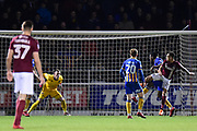 Northampton Town defender Shay Facey (24) scores a goal from open play 1-0 during the EFL Sky Bet League 1 match between Northampton Town and Shrewsbury Town at Sixfields Stadium, Northampton, England on 20 March 2018. Picture by Dennis Goodwin.