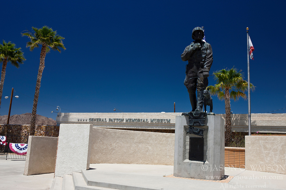 Exterior of the General Patton Memorial Museum, with statue of Gen. Patton, Chiriaco Summit, California, United States of America