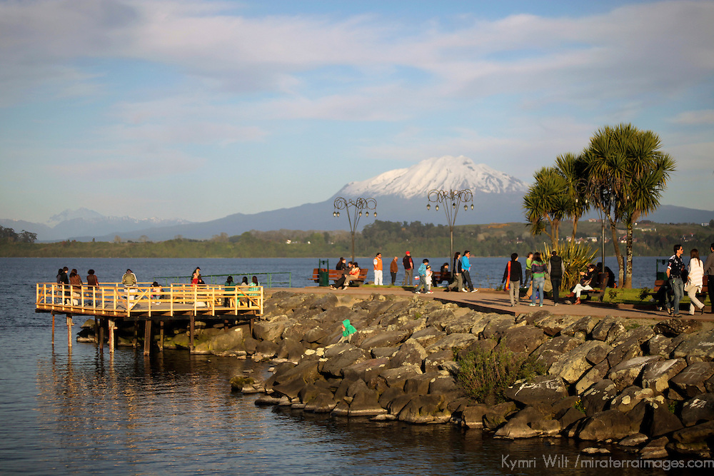 South America, Chile, Puerto Varas. Pier on Llanquihue Lake in Puerto Varas, a favorite spot for locals to enjoy sunset.