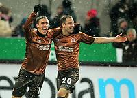 Fotball<br /> Tyskland<br /> 03.12.2010<br /> Foto: Witters/Digitalsport<br /> NORWAY ONLY<br /> <br /> 1:0 Jubel v.l. Max Kruse, Matthias Lehmann (St. Pauli), nach Eigentor von Christian Tiffert (Kaiserslautern)<br /> Bundesliga, FC St. Pauli - 1. FC Kaiserslautern