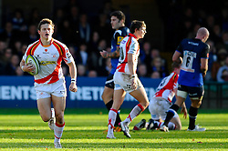Dragons Full Back (#15) Hallam Amos breaks during the first half of the match - Photo mandatory by-line: Rogan Thomson/JMP - Tel: Mobile: 07966 386802 09/11/2012 - SPORT - RUGBY - The Recreation Ground - Bath. Bath v Newport Gwent Dragons  - LV= Cup