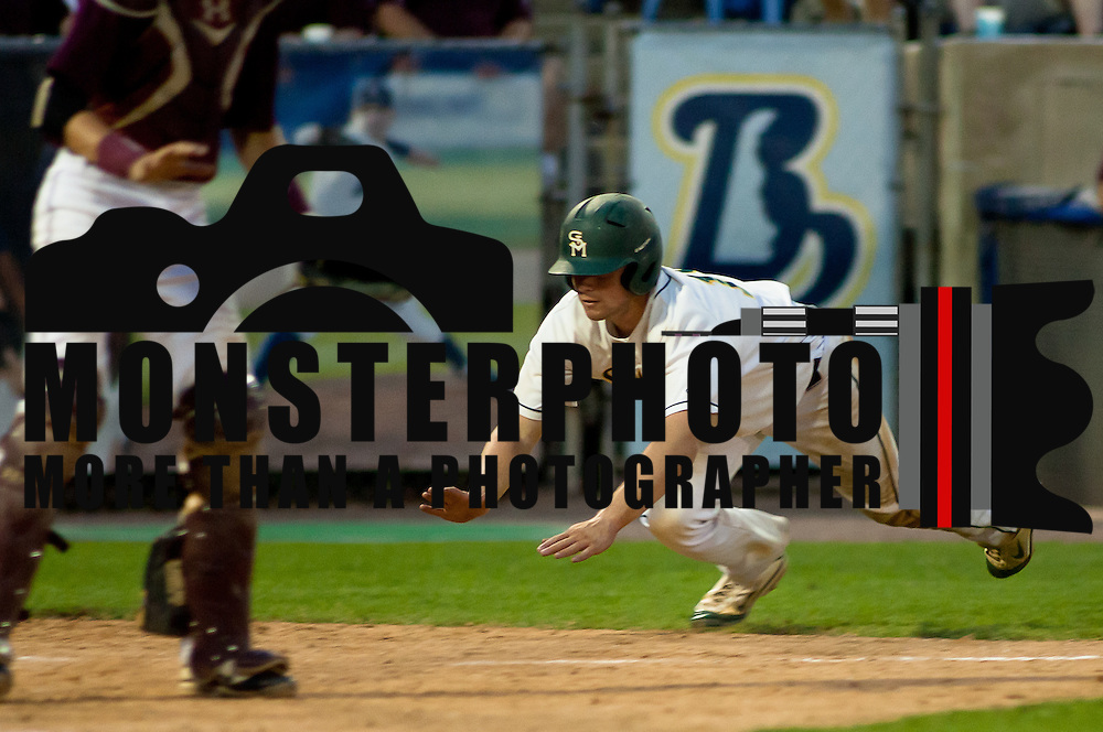 05/29/12 Wilmington Del: St. Marks Infielder/Pitcher Andrew Spagnolo #18 attempts to slide at home plate during the 2012 DIAA Baseball State Title against Milford Tuesday May. 27, 2012, at Frawley Stadium in Wilmington Delaware. ..The number 2-seeded Spartans captured there 12 state championships (85, 88, 94, 97, 99, 03, 04, 05, 07, 09, 10 & 12)...The News Journal/SAQUAN STIMPSON.