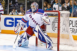 March 12, 2011; San Jose, CA, USA;  New York Rangers goalie Henrik Lundqvist (30) warms up before the game against the San Jose Sharks at HP Pavilion. New York defeated San Jose 3-2 in shootouts. Mandatory Credit: Jason O. Watson / US PRESSWIRE