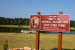 National Park Service welcome sign to the Star Fort Pond, Ninety Six National Historical Site, Ninety-Six, South Carolina.
