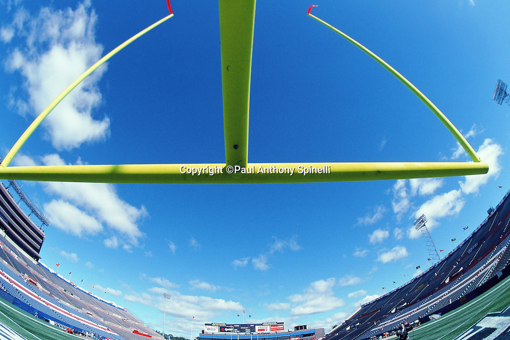A blue sky appears above an end zone goal post in this wide angle general view photograph taken at the New England Patriots NFL football game against the Chicago Bears on Sept. 21, 1997 in Foxborough, Mass. The Patriots won the game 31-3. (©Paul Anthony Spinelli)