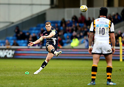 Will Addison (c) of Sale Sharks kicks a penalty - Mandatory by-line: Robbie Stephenson/JMP - 19/02/2017 - RUGBY - AJ Bell Stadium - Sale, England - Sale Sharks v Wasps - Aviva Premiership