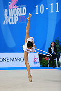Zeng Laura during qualifying at hoop in Pesaro World Cup 10 April 2015. Laura was born in Hartford, Connecticut in October 14, 1999. She is an American individual rhythmic gymnast.