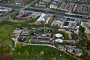Nederland, Noord-Holland, Alkmaar, 28-04-2010; rioolwaterzuiveringsinstallatie (RWZI) bij Noordhollandsch Kanaal van het Hoogheemraadschap Hollands Noorderkwartier.sewage treatment plant (STP) .luchtfoto (toeslag), aerial photo (additional fee required).foto/photo Siebe Swart